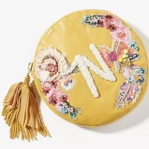 NWT Anthropologie Boho Cosmetic Pouch Yellow N